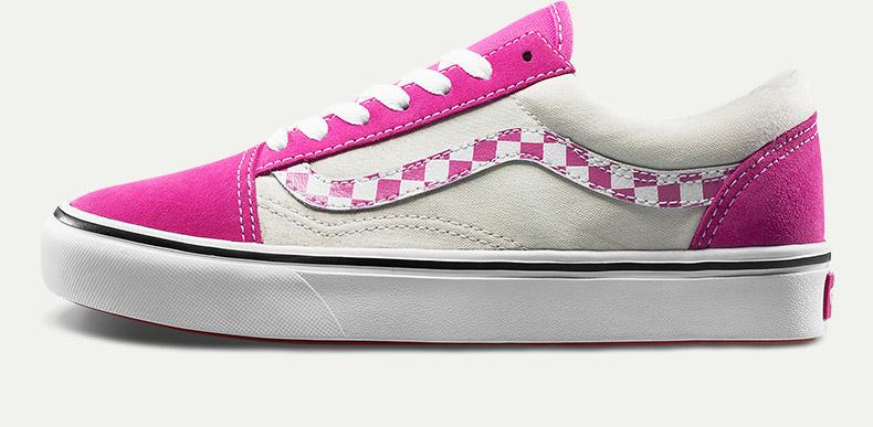 范斯COMFYCUSHOLDSKOOL男女款粉白色板鞋滑板鞋